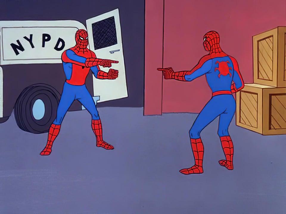 Spider-man pointing at Spider-man meme